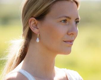 Baroque Pearl Sterling Silver Hook Earrings / Baroque Pearl Drop Earrings / Freshwater Pearl Drop Earrings