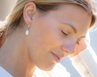 White Freshwater Drop Pearl Silver Hook Earrings / White Pearl Hook Earrings / Silver and Pearl Earrings