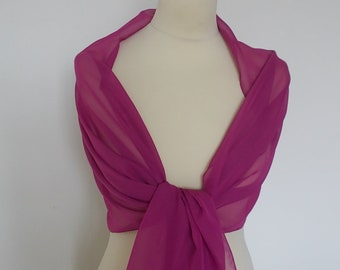 Cerise,  chiffon wrap shawl scarf for bridesmaids,  weddings, prom, races. UK seller
