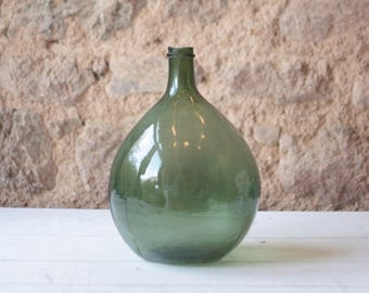 """15"""" French Antique Demi-John, or Carboy, in Green / Farmhouse"""