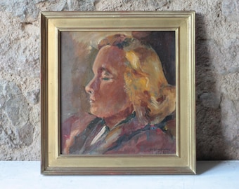 French Mid Century Painting, Portrait of a Woman by Yv. Griotteray / Oil Painting / Oil on Canvas / 1940s / Farmhouse
