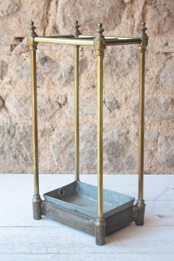 Large Cast Brass French Vintage Square Umbrella Stand Etsy
