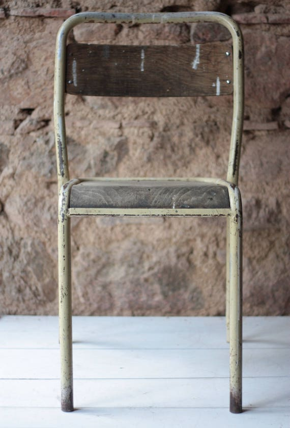 Fantastic Single French Vintage Tolix Chair In Lemon Yellow Steel And Pine Theyellowbook Wood Chair Design Ideas Theyellowbookinfo
