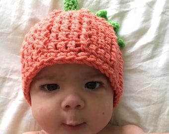 Crochet infant pumpkin hat