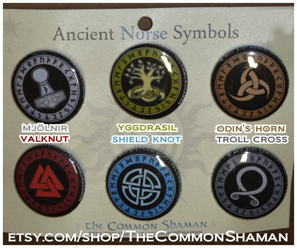 Norse Symbol Pins Nordic Viking Asatru Valknut Mjolnir Etsy