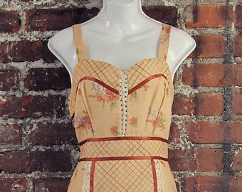 1970's Peach Sundress with Rust Ribbon Detail and Lace Up Front