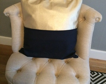 Cushion - navy/white pattern with navy and gold faux leather back