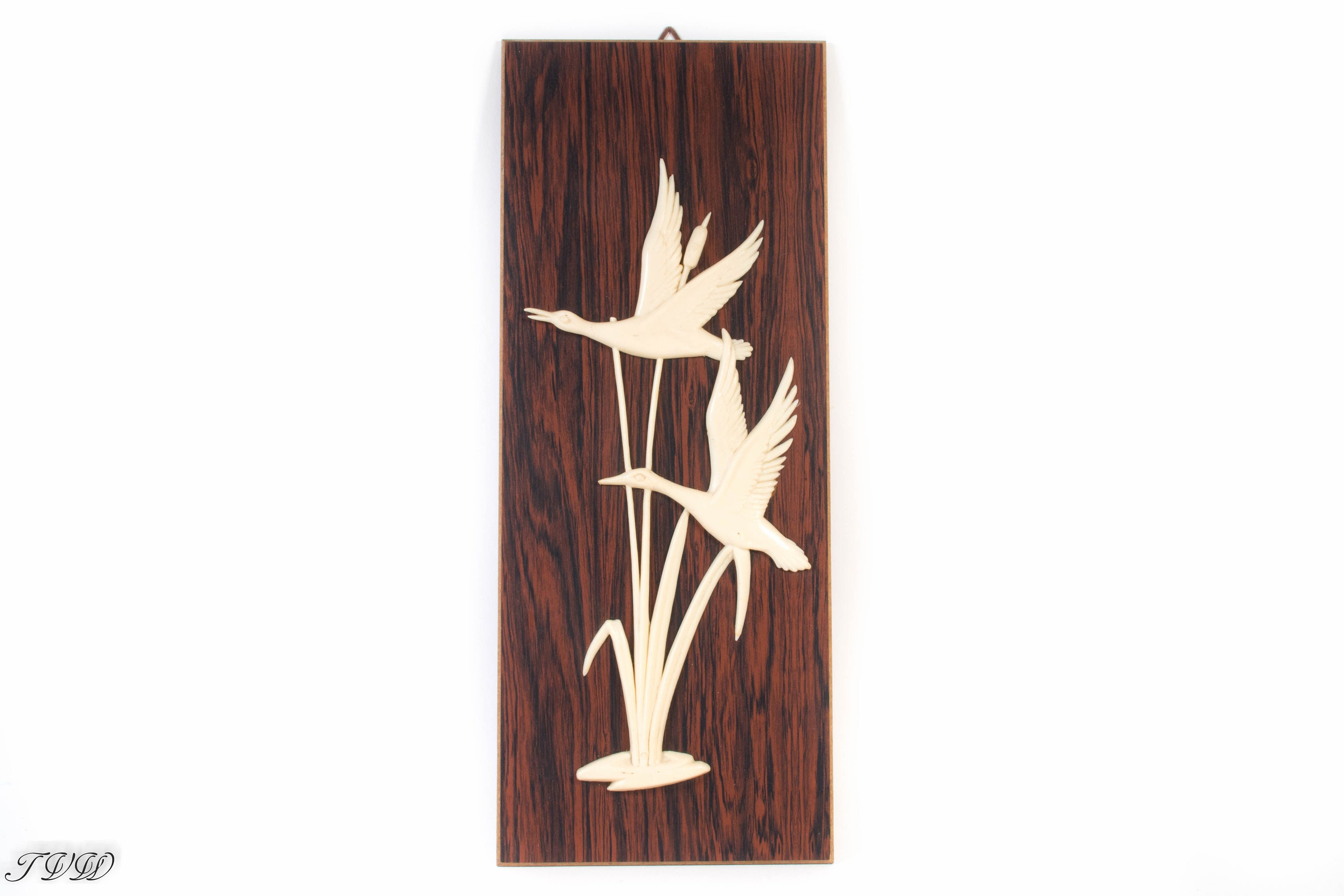 Vintage Wooden 60s Wall Decoration Birds Wooden Wall