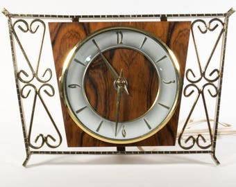 Vintage 60s clock, electric clock, desk clock, table clock, Modernist, germany