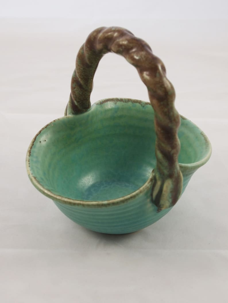 Vintage green bowl with handle 50s