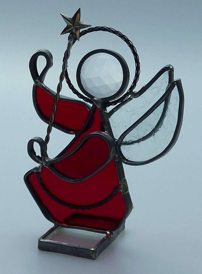 Vintage Ruby Red Angel Stained Leaded Glass Pewter Metal Figurine Angel Holding Christmas Star