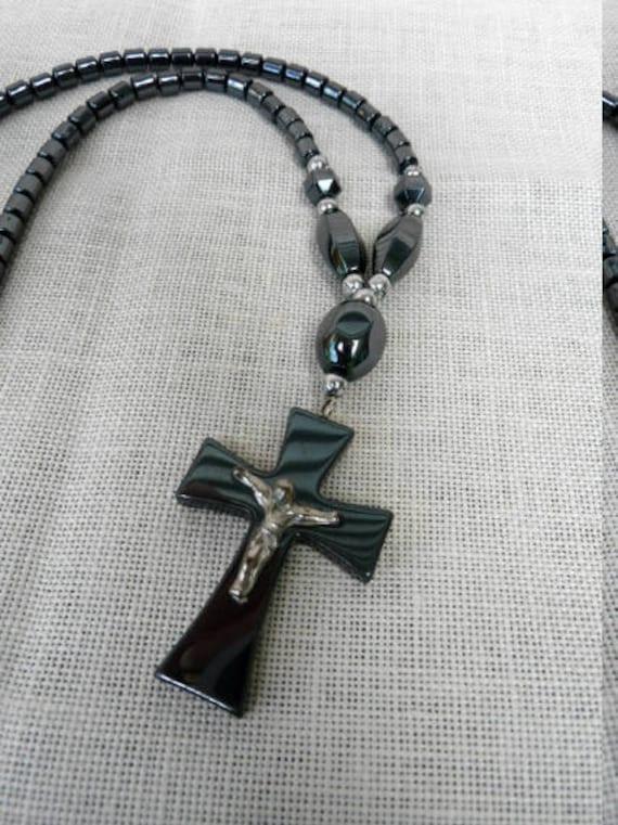 Vintage black onyx cross necklace mens cross pendant mens aloadofball Choice Image