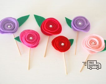 Set of 6 Rose Flowers Cake or Cupcake Toppers (Red, Pink and Purple) Party Decoration for Birthday and Spring