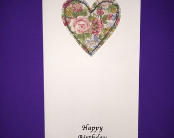 Pink Floral Heart Birthday Card