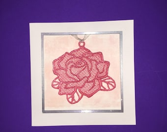 Pink Rose Embroidered Greeting Card
