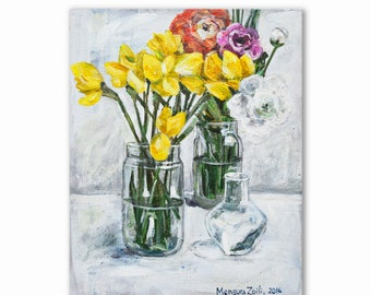 Original painting| Impressionistic painting| Acrylic painting| Flower painting| Daffodil painting| Small painting|Painting on canvas| SPRING