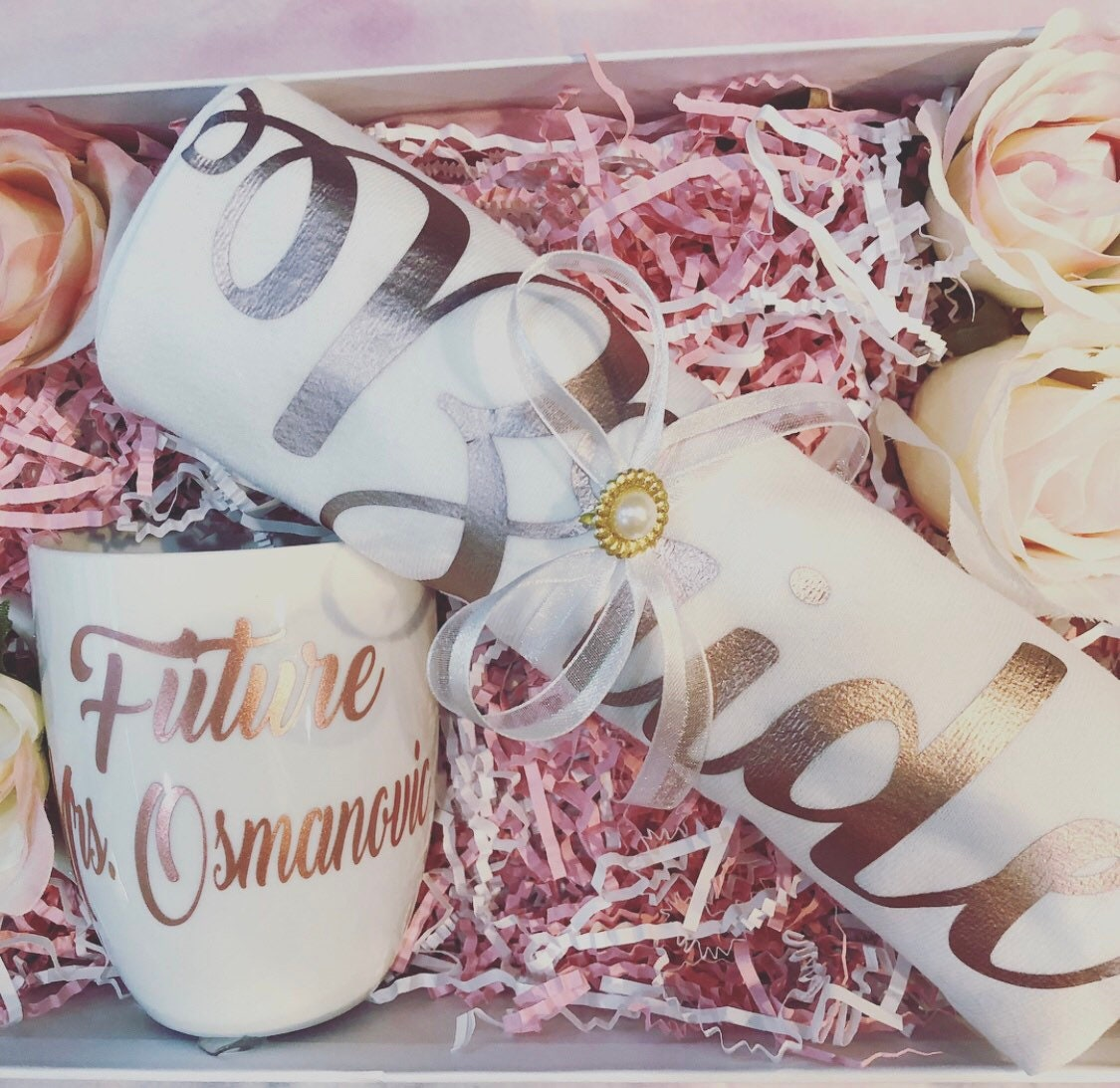 personalized bridal engagement wedding gift basket box bride gift