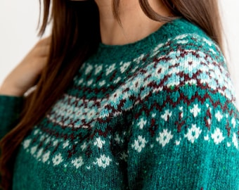 8 colours. Womens Fair isle jumper sweater Green, Teal, Red, Aqua, Grey, Pink or Navy blue Ladies yoke pullover. Donegal wool. scottish.