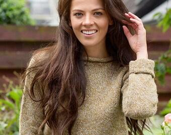 4 colours. Womens chunky Scottish wool roll neck cuffed jumper sweater. ochre mustard, navy blue, natural beige brown, black