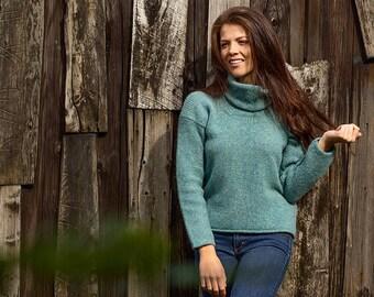RRP £78 Womens Scottish Wool Chunky Tartan Plaid Jumper Sweater.Blue Black//Brown