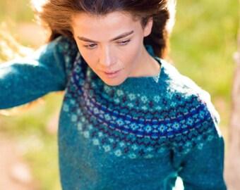 2b572fe31bfd Womens Fair isle jumper sweater Teal