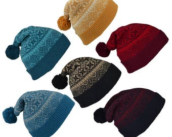 6 colours. Fair isle ski hat, winter hat, pom pom hat, bobble hat. Mustard yellow, teal, red, black, camel, blue, turquoise, grey, gray