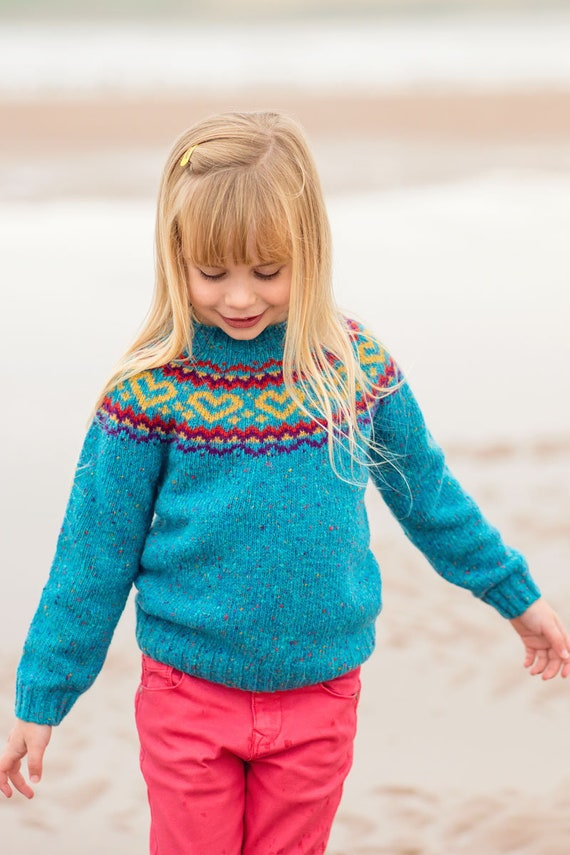 3 Farben. Mädchen Fair Isle Pullover Pullover wolle Herz rosa, pink, Türkis, blau, Regenbogen Kinder Kinder pullover