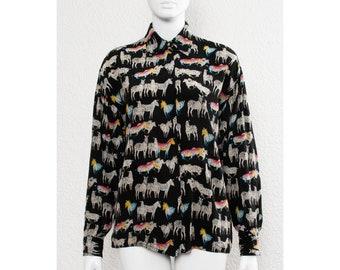 1e3b9d48dd9 Fab vintage des années 80 surdimensionné GIANNI VERSACE arc en ciel zèbre  chemise imprimée