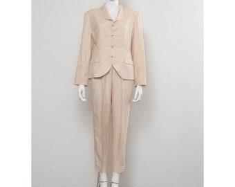 091c05d77b5 Stunning vintage 1980s champagne silk YVES SAINT LAURENT Chinoise pant  suit, wedding