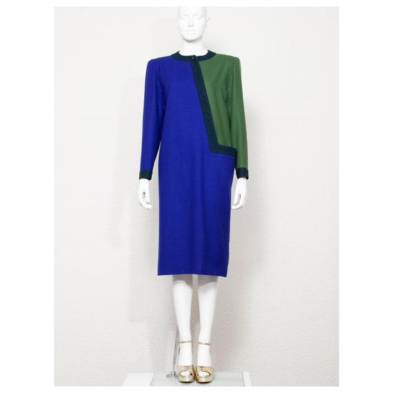Vintage 1980s purple green wool asymmetrical NINA