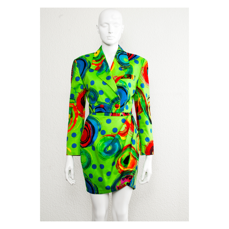 06e44996ee8 Stunning vintage 1991 acid green pop art cropped Gianni | Etsy
