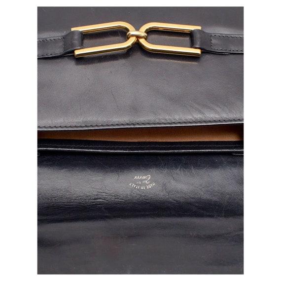 Vintage 1970s signed black horse bit GUCCI leathe… - image 5
