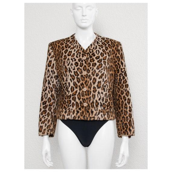 Vintage 1990s faux fur leopard print KENZO cropped