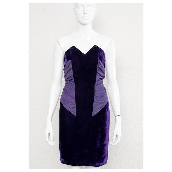 Stunning vintage 1980s purple velvet boned corset