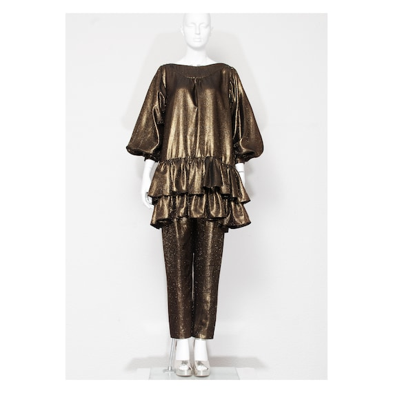 Rare vintage late 1970s gold lame ruffled FONG LEN