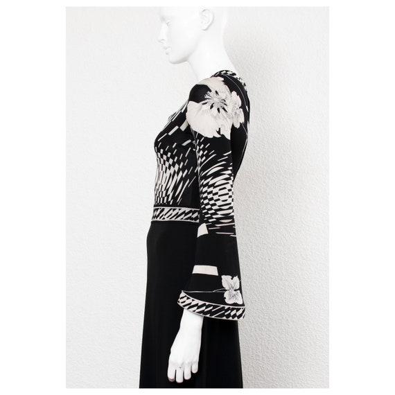 Stunning vintage 1970s black & white floral print… - image 3