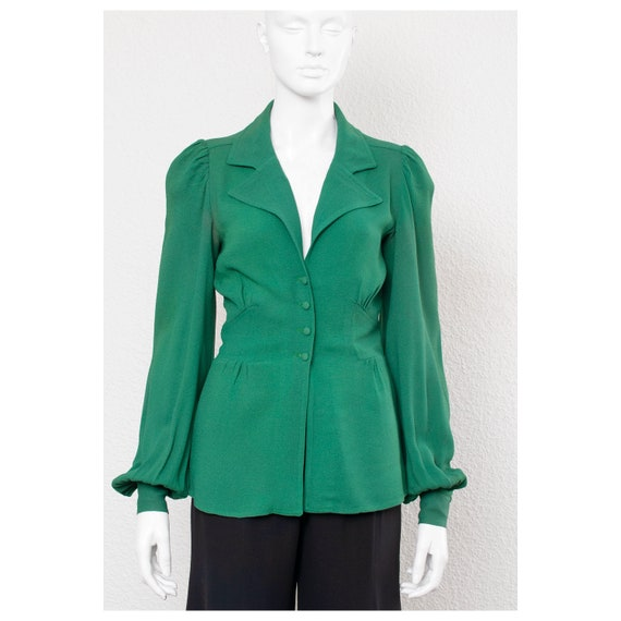 Rare vintage late 1960s green moss crepe 40s style