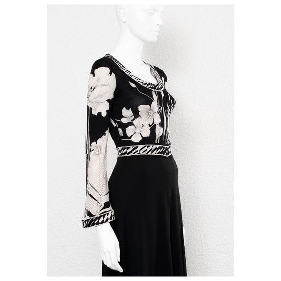 Stunning vintage 1970s black & white floral print… - image 7
