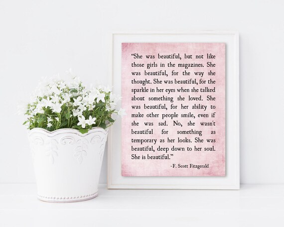 She Was Beautiful F Scott Fitzgerald Quote Love Quote Book Etsy