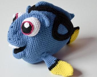 Crochet PATTERN No 1624- blue fish pattern by Krawka