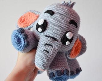 Crochet PATTERN - Grey Elephant Echo by Krawka, cute crochet plush