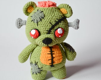 Crochet PATTERN No 1635 - Frankie the zombie teddy bear by Krawka, Frankenstein's monster, zombies, Halloween, creepy cute crochet
