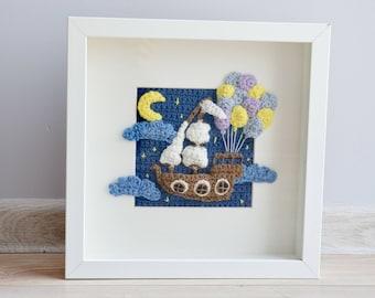Crochet PATTERN No 1717- Picture frame - Balloon ship - pattern by Krawka, fantasy, fairy tales, nursery,  wall decor