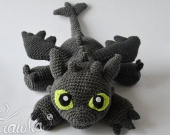 Crochet PATTERN No 1903 Black Dragon by Krawka