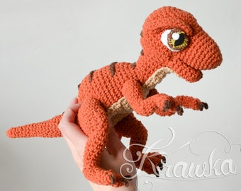 Crochet PATTERN No 1909 Baby raptor realistic dinosaur pattern by Krawka