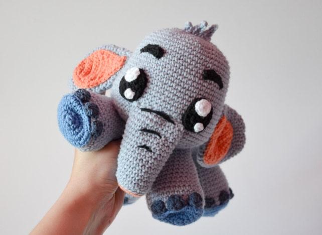 Crochet Pattern No 1633 Grey Elephant Echo By Krawka Cute Etsy