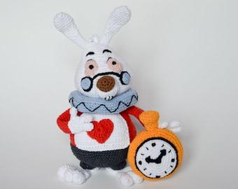 Crochet PATTERN - White Rabbit, Alice in Wonderland Lewis Carroll, rabbit hole, pattern by Krawka