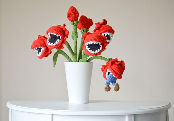 Crochet Pattern No 1707 Bouquet Of Man Eating Plants By Etsy