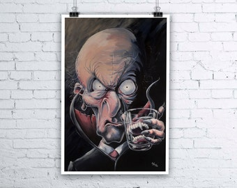 Great Grandvampa - Halloween Vampire Painting - Giclee Fine Art Print - Various sizes available - Dracula Nosferatu Wall Art Print