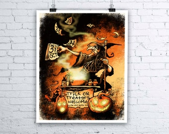 Everyday Is Halloween - Giclee Fine Art Print - Various sizes available - Witch Prints October 31st Trick or Treat Halloween Wall Art